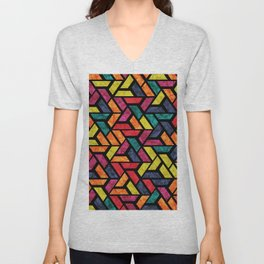 Seamless Colorful Geometric Pattern XI Unisex V-Neck