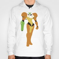 metroid Hoodies featuring Metroid - Minimalist by Adrian Mentus