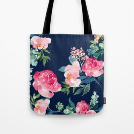 Navy and Pink Watercolor Peony Tote Bag