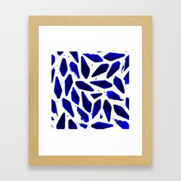 Cobalt Blue Ink Blots Framed Art Print