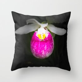 June Lady's Slipper Throw Pillow