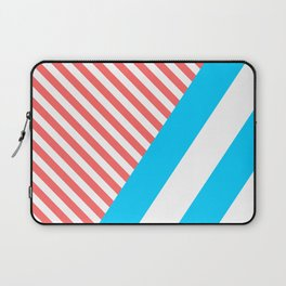 Geometric, Abstract, Red And White Stripes, version 1 Laptop Sleeve