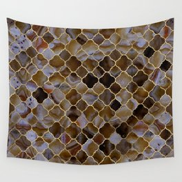 Quatrefoil Moroccan Pattern Brown Agate Wall Tapestry