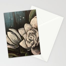 Night Bloom // Gardenia White Flower Stars Magnolia Abstract Painting Southern Garden Tree Plants Stationery Cards