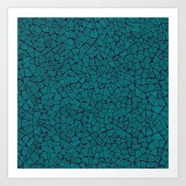 Teal Lumber Mosaic Pattern Art Print