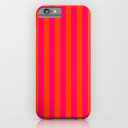 Orange Pop and Hot Neon Pink Vertical Stripes iPhone Case