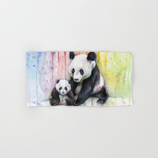 Pandas and Rainbow Watercolor Mom and Baby Panda Nursery Animals Hand & Bath Towel