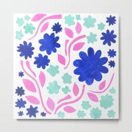 Cool Folk Floral Metal Print