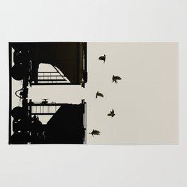 Rail Call - Graphic Birds Series, Plain - Modern Home Decor Rug
