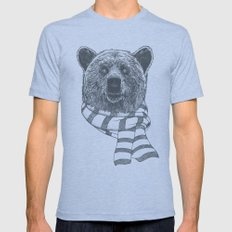 Winter Bear Drawing MEDIUM Tri-Blue Mens Fitted Tee