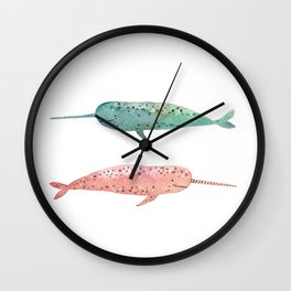 Narwhals on their way Wall Clock