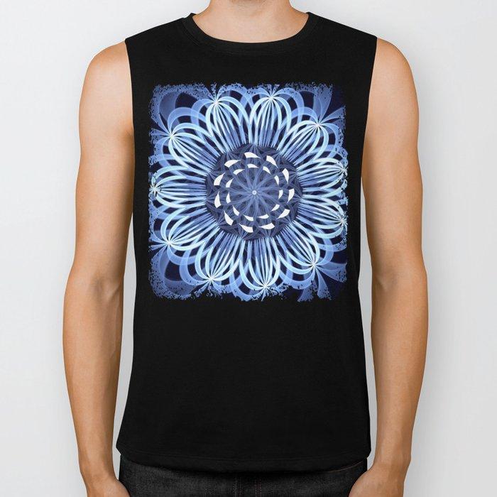 Sky blue fantasy pattern flower Biker Tank