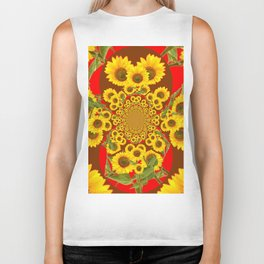 BROWN-RED SUNFLOWERS ABSTRACT Biker Tank