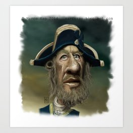 Barbossa Caricature Cartoon (Geoffrey Rush) Art Print