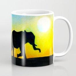 African Sunset Elephant Silhouette Coffee Mug