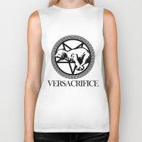 versace Biker Tanks featuring Versace Parody - Versacrifice by hunnydoll
