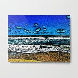 Ocean, Sky, Beach, and Sand Metal Print