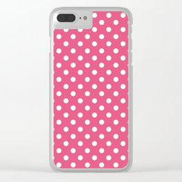 Small Polka Dots - White on Dark Pink Clear iPhone Case