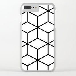 Black and White - Geometric Cube Design I Clear iPhone Case