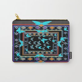 Blue Butterflies American Southwest Chacoal Grey Design Carry-All Pouch