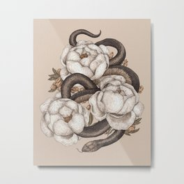 Snake and Peonies Metal Print