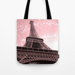 Paris Pink Eiffel Tower Tote Bag