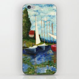 """Artistic Impression of Claude Monet's """"Red Boats at Argenteuil"""" iPhone Skin"""