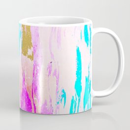 Meraki, Abstract Gold Painting, Colorful Graphic Design, Golden Pink Blue Eclectic Luxe Illustration Coffee Mug
