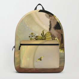Cute little yorkshire terrier with butterflies Backpack