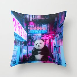 Giant panda in a Chinese street by GEN Z Throw Pillow