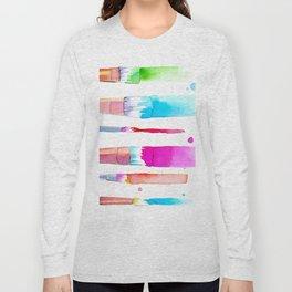 Watercolour Paint Brushes Long Sleeve T-shirt