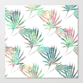 Palmetto Fronds Tropical Multicolor Pattern Canvas Print