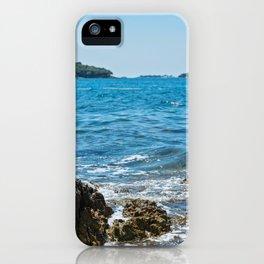 Cormorant on the rocky beach in Istria, Croatian coast iPhone Case