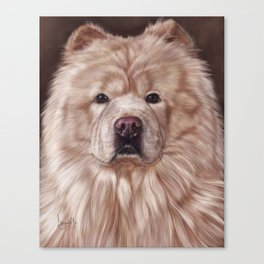 Cream Chow Chow Painting Portrait Canvas Print