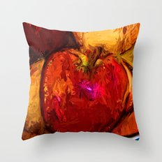 Red Apple and Gold Apples in a Blue Bowl Throw Pillow