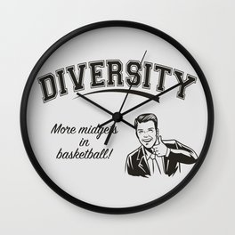 Diversity - Midgets in Basketball Wall Clock