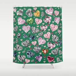 Heart Diamonds are Forever Love Green Shower Curtain
