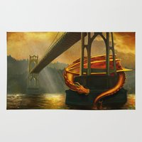 marc johns Area & Throw Rugs featuring The Dragon of the St Johns Bridge by Studio Catawampus
