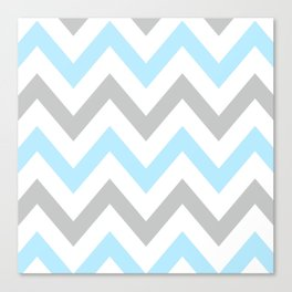 BLUE & GRAY CHEVRON Canvas Print