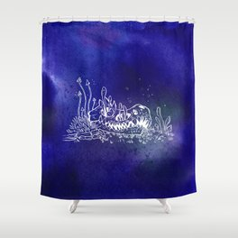 Dino skull – Blue Shower Curtain