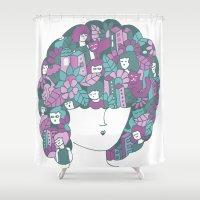 hair Shower Curtains featuring Hair by Regina Rivas Bigordá