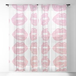 bitten lips gradient pattern doodle Sheer Curtain