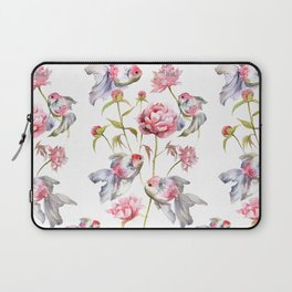 Blush Pink Peony Flowers with Fish Design Laptop Sleeve