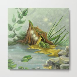 Fairy Lights Mossy Landscape Metal Print