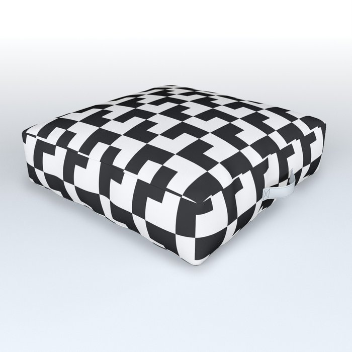 Black and White Tessellation Pattern - Graphic Design Outdoor Floor Cushion