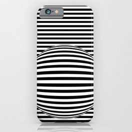 Black and White Stripes and Sphere Bubble Digital Illustration - Artwork iPhone Case