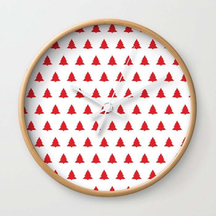 Red Christmas Tree Seamless Pattern Wall Clock