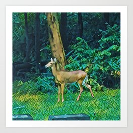 The Trees, The Deer, And The Tombstone Art Print