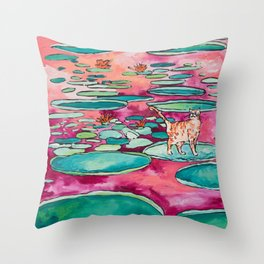 Ginger Cat amongst the Lily Pads on a Pink Lake Throw Pillow