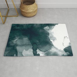 Dark Green Watercolor Marble Rug